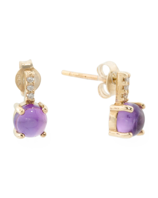 Made In Spain 14k Gold Diamond And Amethyst Earrings