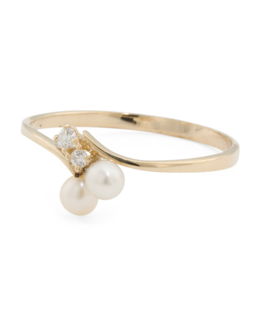 Made In Spain 14k Gold Diamond And Pearl Ring