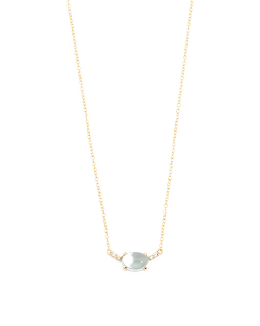 Made In Spain 14k Gold Diamond And Blue Topaz Necklace