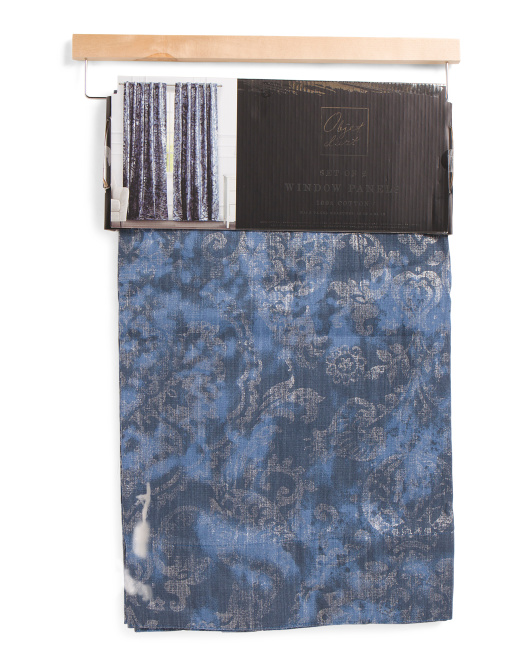Set Of 2 Foil Printed Curtains