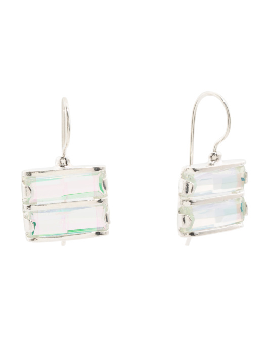 Made In Israel Sterling Silver Rainbow Quartz Earrings