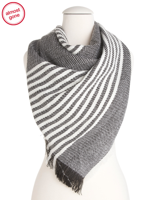 Striped Woven Triangle Scarf