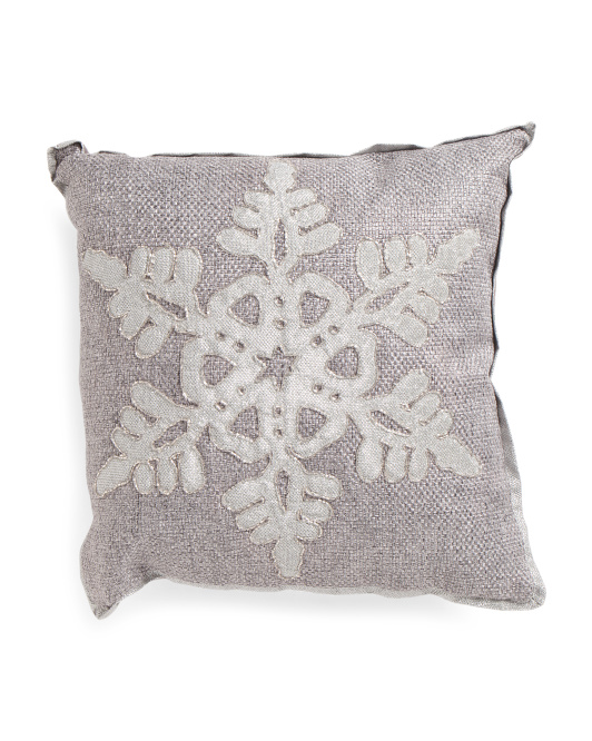 Made In India 18x18 Embroidered Snowflake Pillow