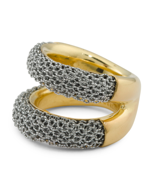 Made In Bali Gold Plated Sterling Silver And Mesh Ring
