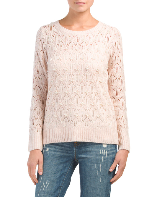 Pearl Trim Pullover Sweater
