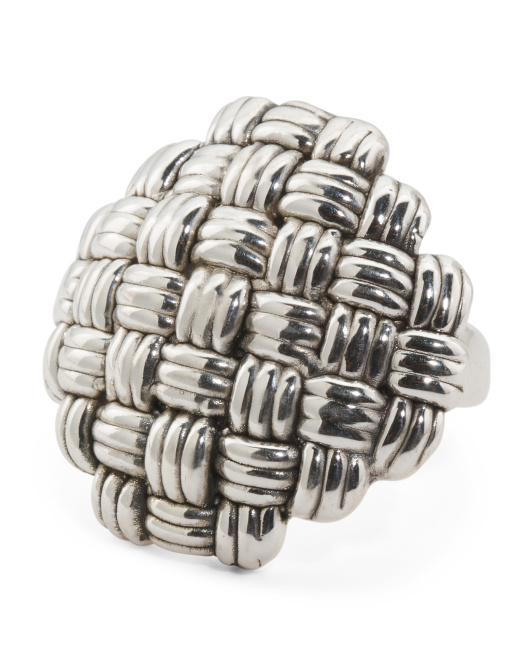 Made In Israel Sterling Silver Basketweave Ring