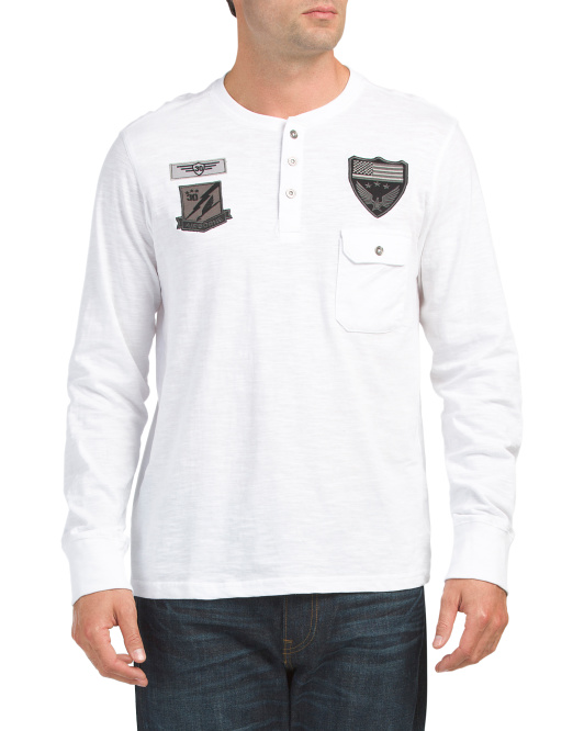 Long Sleeve Henley With Patches