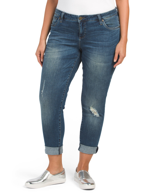 Plus Roll Cuff Boyfriend Jeans