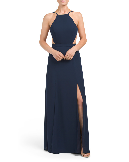 Backless Side Slit Gown