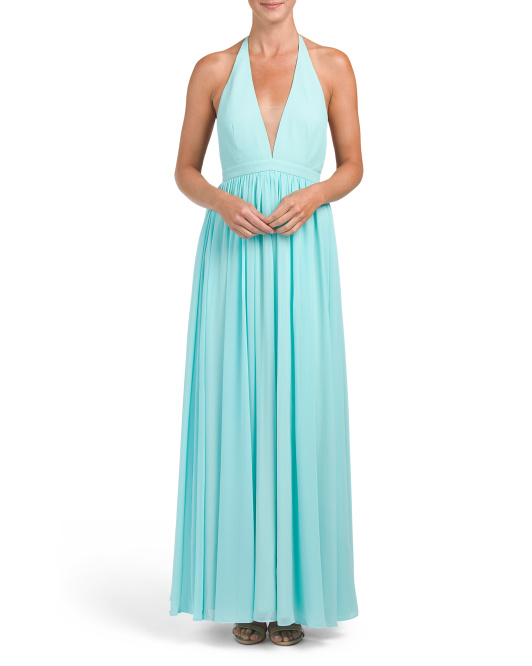 Low Cut V Neck Gown