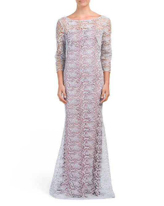 Metallic Lace Column Gown