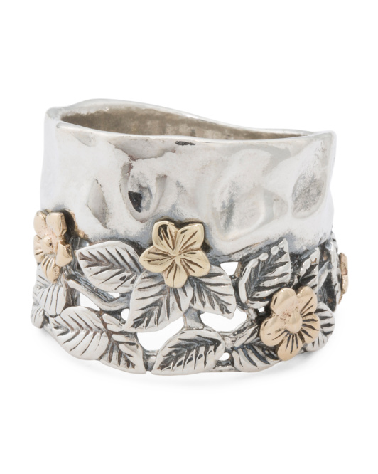 Made In Israel Sterling Silver And 14k Gold Flower Ring