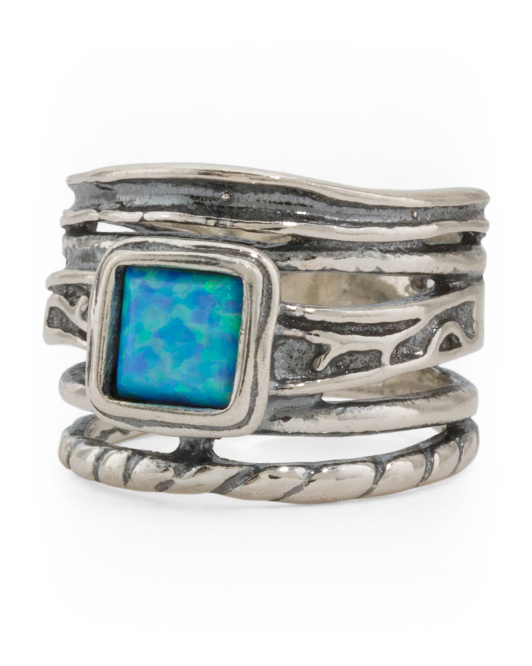 Made In Israel Sterling Silver Square Opal Ring