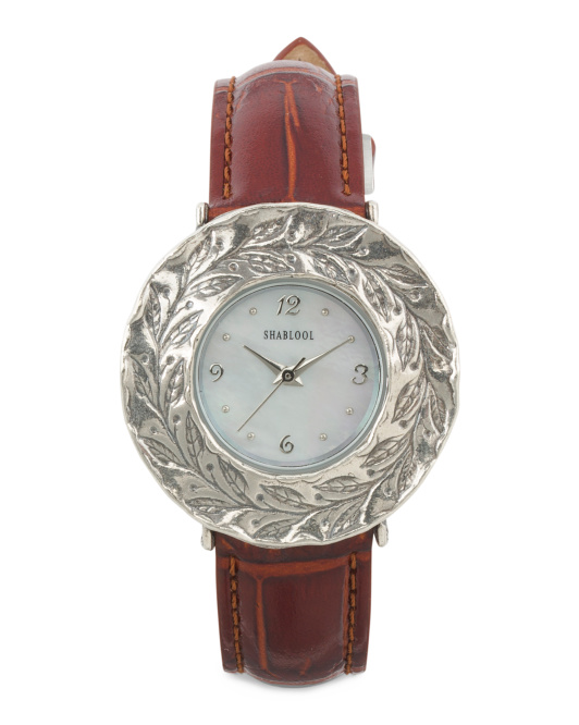 Women's Made In Israel Sterling Silver Brown Leather Watch