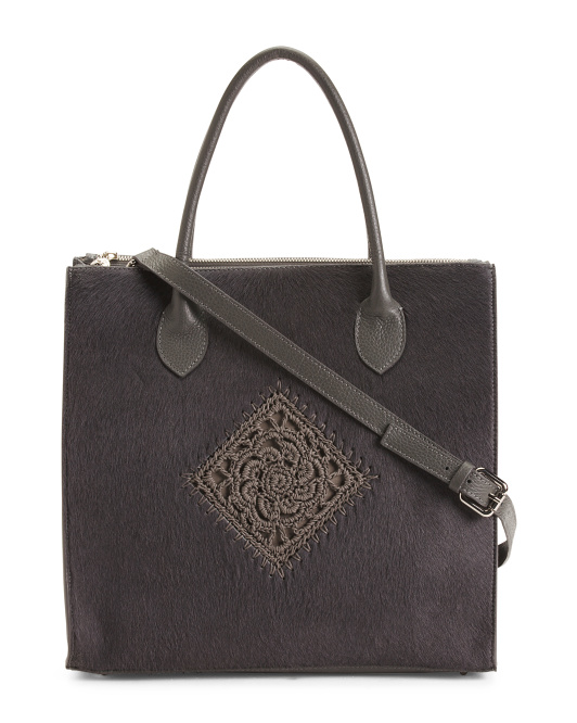 Made In Italy Square Leather Tote With Haircalf