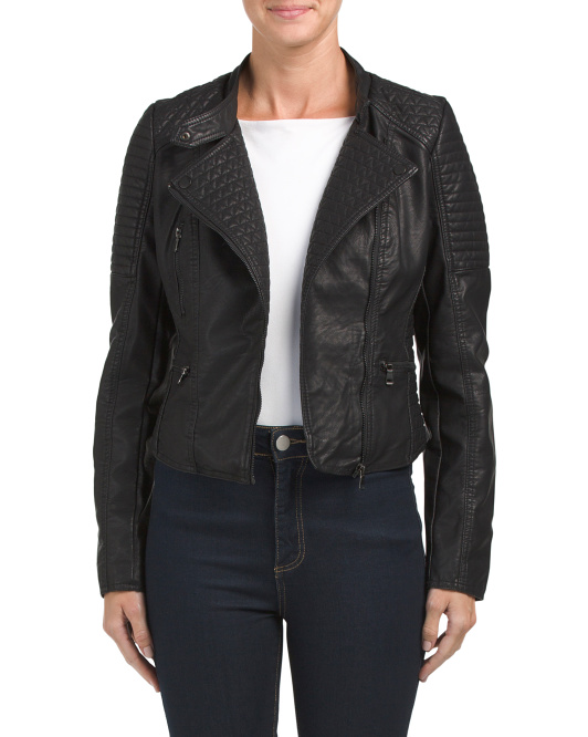 Juniors Quilted Moto Jacket