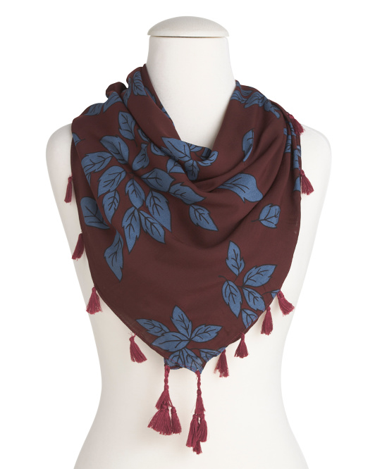 Leaf Print Scarf With Tassels