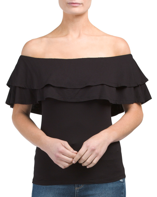 Juniors Ruffle Off The Shoulder Top