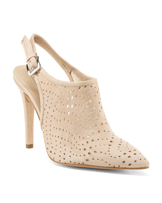 Made In Italy High Heel Suede Mules