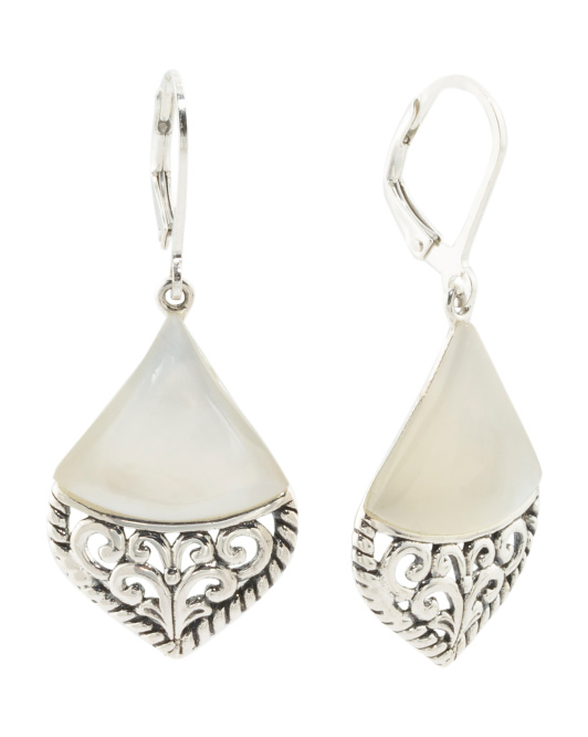Made In Thailand Sterling Silver Shell Filigree Earrings