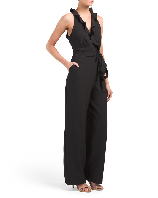 Sleeveless Ruffled Surplice Jumpsuit
