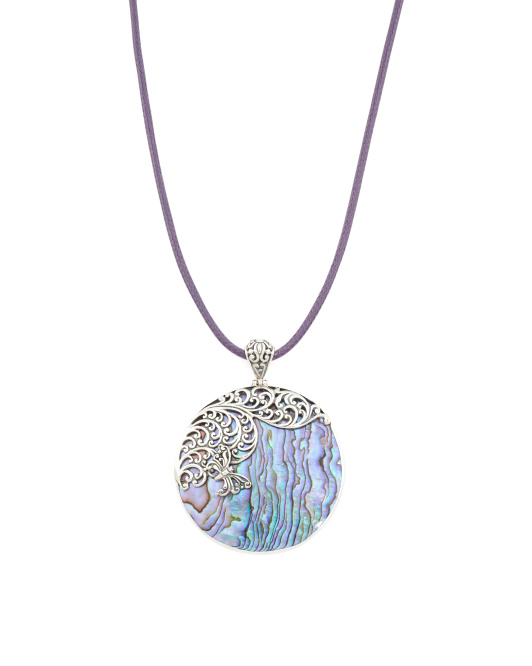 Made In Bali Sterling Silver Abalone Cord Necklace