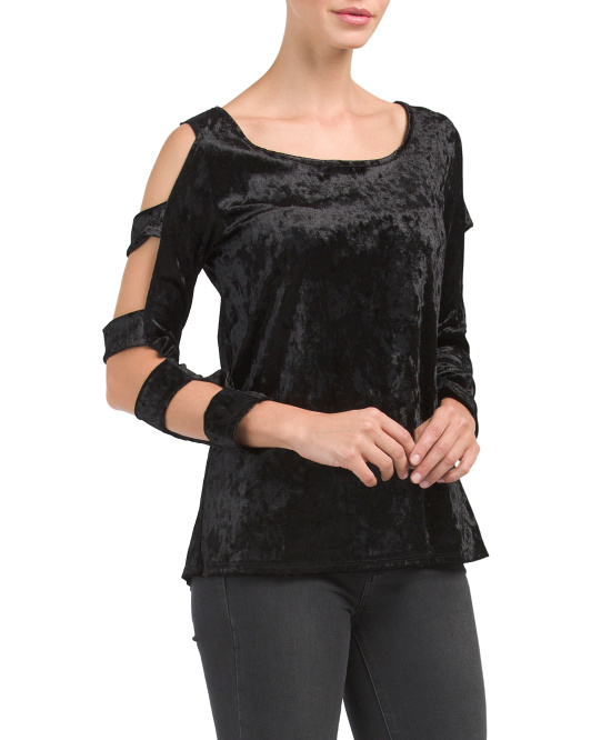 Made In USA Ladder Cut Out Velvet Top