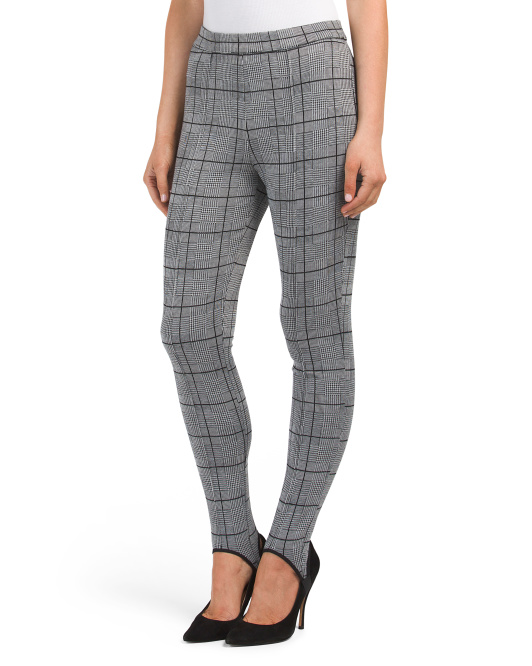 Juniors Plaid Stirrup Ponte Pants