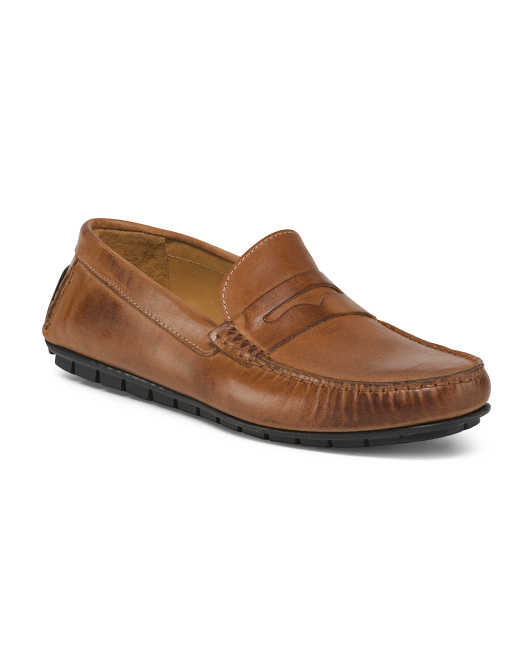 Men's Made In Italy Leather Penny Loafers