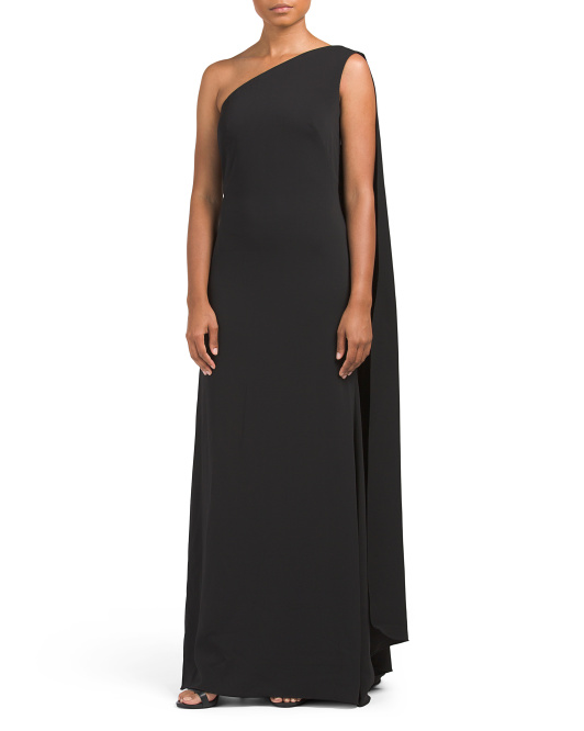 One Shoulder Crepe Column Gown