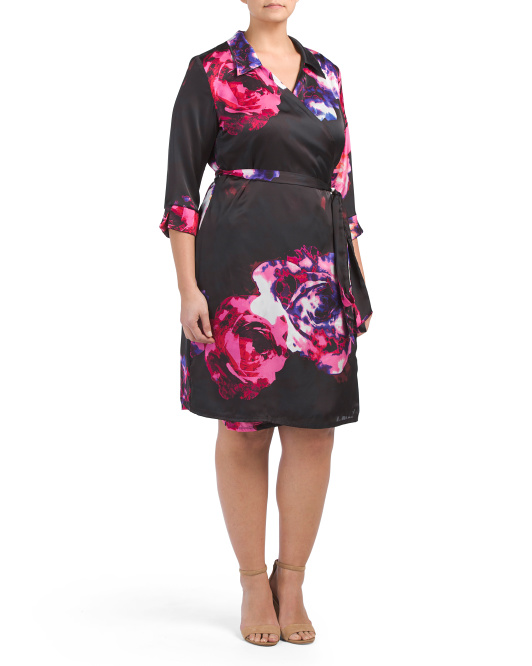 Plus Made In USA Orchid Floral Wrap Dress