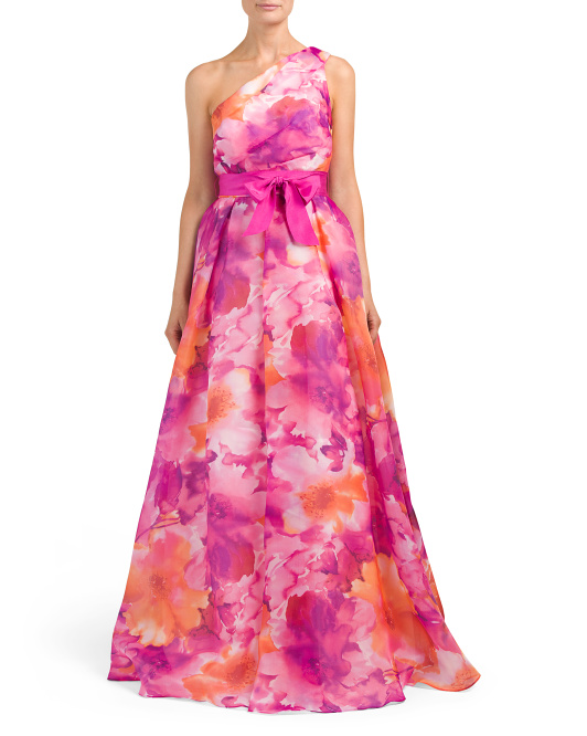 Draped Floral Organdy Gown