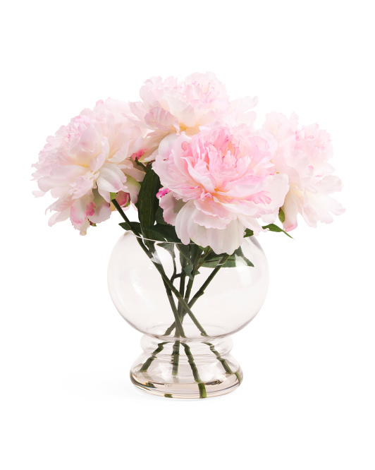 15in Faux Peony In Glass Vase