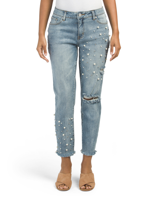 Fab Jeans With Faux Pearl Detail