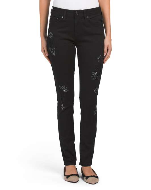 Skinny Jeans With Crystal Accent