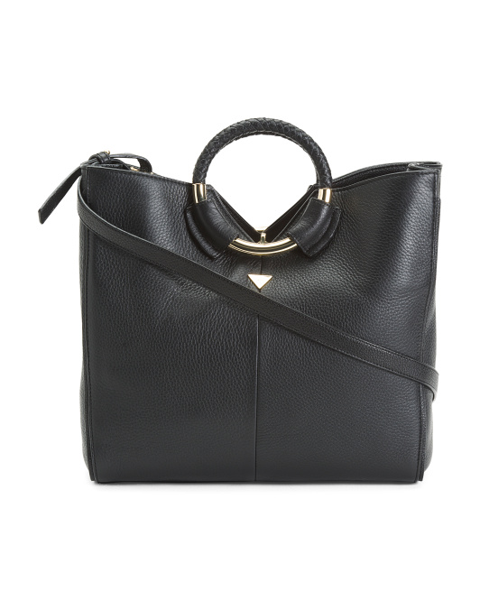 Whitney Ring Handle Leather Tote
