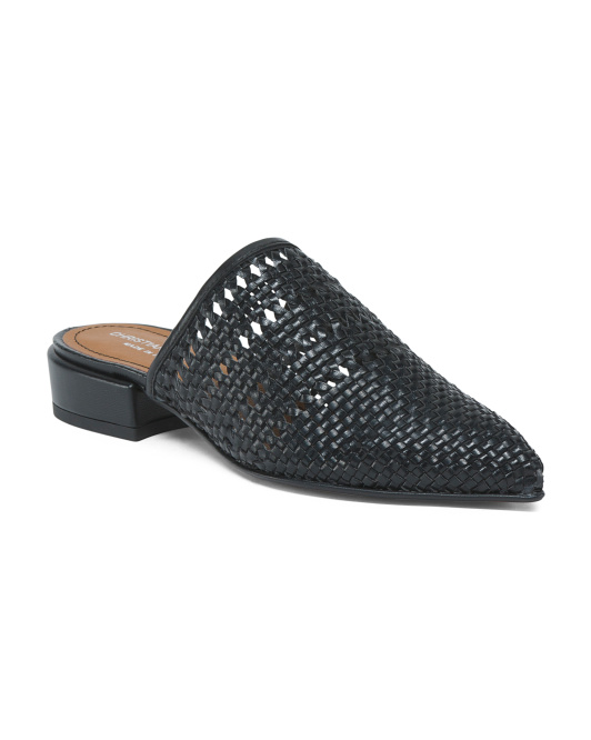 Made In Italy Pointy Toe Leather Mules