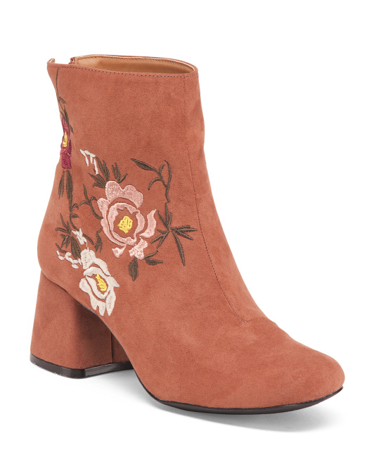 Embroidered Low Boots With Back Zip