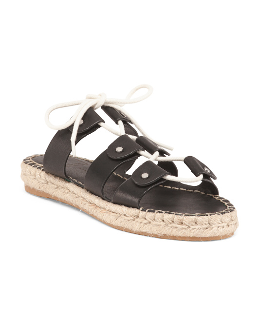 Lace Up Leather Slide Sandals