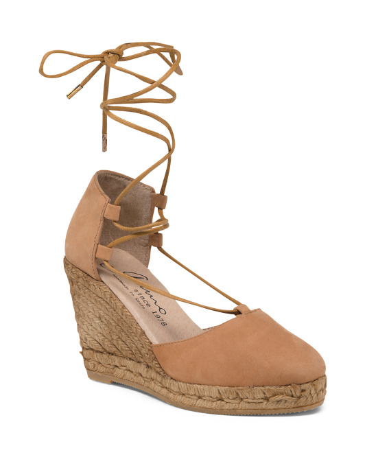 Made In Spain Suede Espadrille Wedges