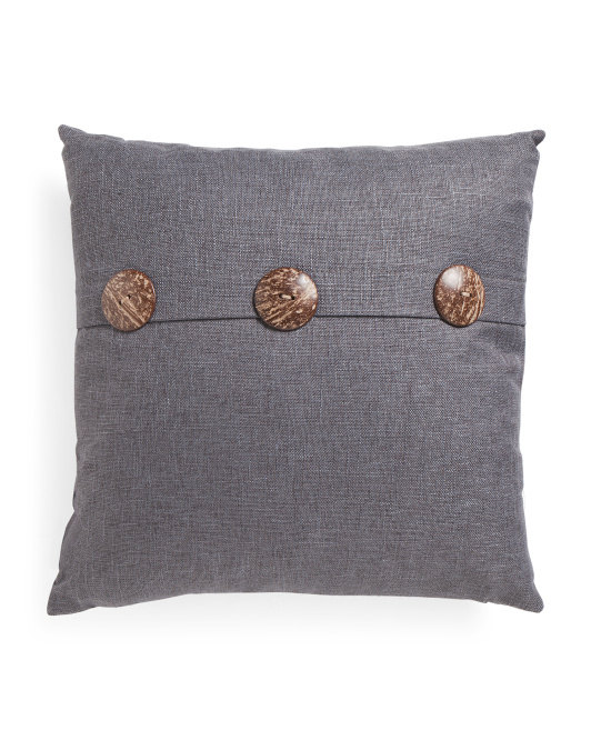 20x20 Solid Button Pillow
