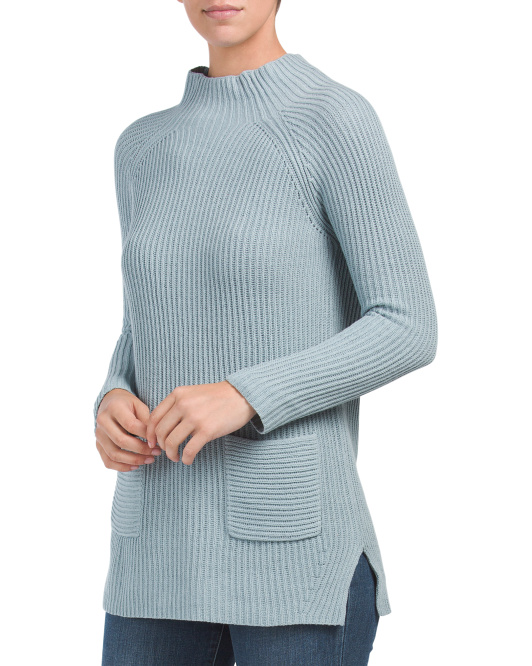 Two Pocket Mock Neck Sweater
