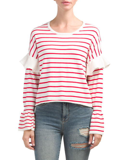 Juniors Bell Sleeve Striped Sweater