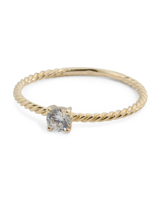 Made In Italy 14k Gold Cubic Zirconia Cable Band Ring