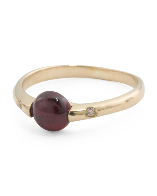 Made In Italy 14k Gold Tourmaline Cabochon Band Ring