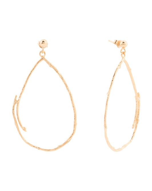 Made In Italy Gold Plated Sterling Silver Branch Hoop Earrings