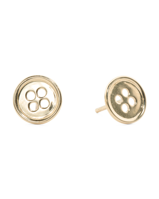 Made In Italy 14k Gold Button Stud Earrings