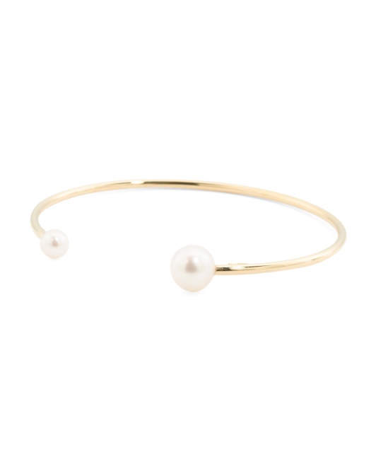 Made In Italy 14k Gold Pearl Open Bangle Bracelet