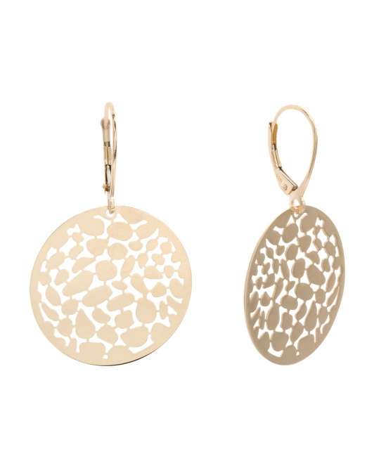 Made In Italy 14k Gold Round Cut Out Earrings