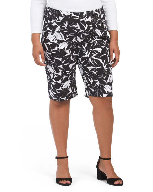 Plus Printed Pull On Bermuda Shorts